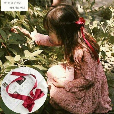 AC 韓國髮飾女童髮飾 一字夾 鴨嘴頰髮夾邊夾 馬尾夾 公主夾 紅色蝴蝶結緞帶飄帶髮夾 生日派對 禮服搭配 髮飾 現貨