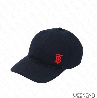【WEEKEND】 BURBERRY Monogram TB Logo 刺繡 棒球帽 帽子 潮帽 深藍色 19秋冬