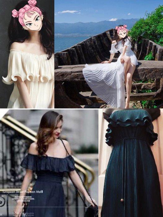全新吊牌 美金💲226 Juicy Couture 浪漫裸肩絲摺長洋裝