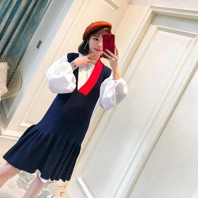 套裝 夏裝 寬鬆孕婦裝秋裝套裝時尚款新款韓版針織背心裙兩件套中長款潮