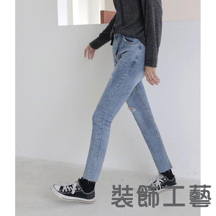 春秋新款緊身破洞牛仔褲韓國淺藍色簡約修身顯瘦牛仔長褲