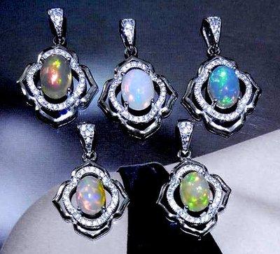 ((瑪奇亞朵的珠寶世界))超美豪華時尚款 天然蛋白石鑲崁 墬子 送禮好用大器 精緻