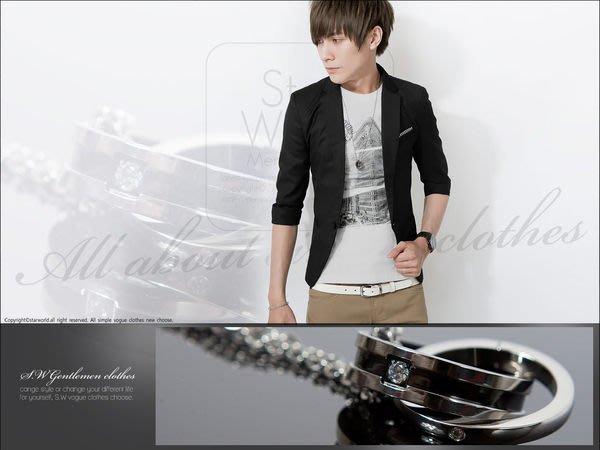 。SW。【S81105】專櫃精品 都會時尚感 摩登質感 黑邊交叉水鑽 韓國鈦鋼鍊 雅痞