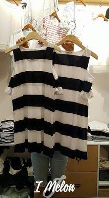 ::: i-MelOn :::100%韓國空運 正韓【現貨特惠】黑白橫條條紋露肩短袖上衣洋裝※黑色/深藍色