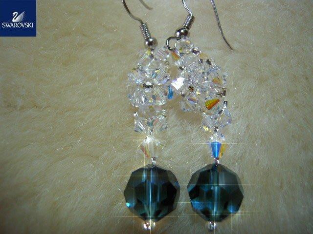 ※水晶玫瑰※ SWAROVSKI 地球珠水晶 耳勾式耳環(DD380)