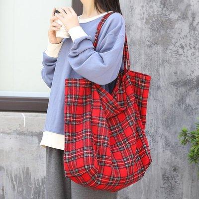 單肩包 帆布 手提包-大容量格紋印花休閒女包包3色73wo30[獨家進口][米蘭精品]