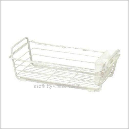 asdfkitty可愛家☆日本 pearl白色可伸縮水槽邊碗盤濾水籃/瀝水架/滴水架-日本正版商品