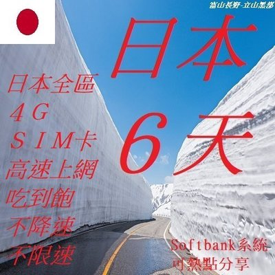 日本 6天/6日 吃到飽 不降速 不限速 上網 4G SIM 網卡 wifi (附卡針) 全區 插卡即用 免開通