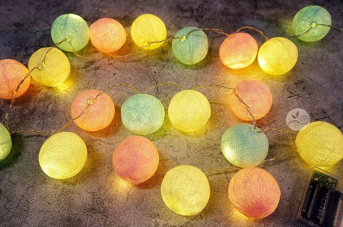 裝飾燈串_暖彩圓球20顆(電池)2米_B107-001◎串燈.燈具.彩色.圓球.裝飾燈.布置.裝飾