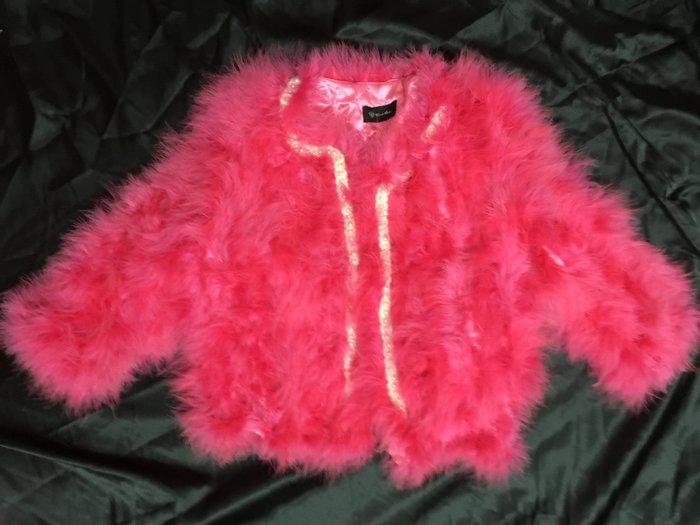 出清羽竹店鋪 %真皮草 鴕鳥毛桃紅色編綿短版外套082 尺寸XL