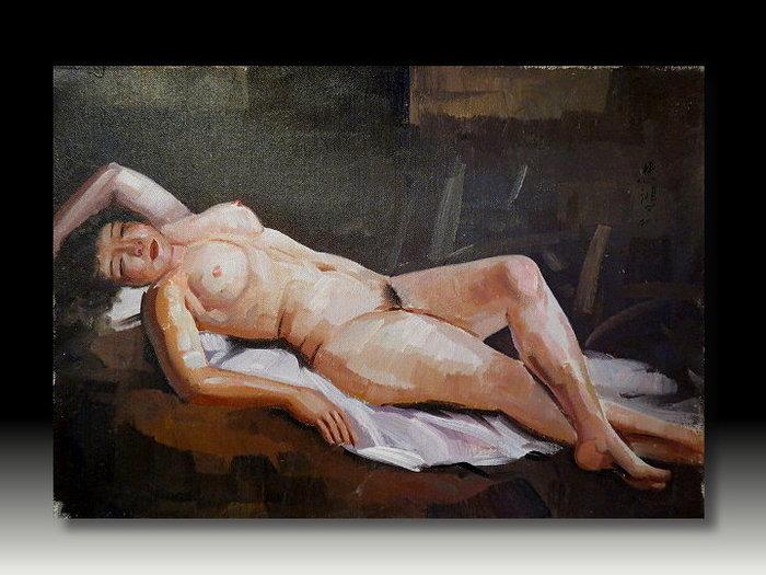 【 金王記拍寶網 】U857  中國近代書畫名家 徐悲鴻 款 手繪油畫一張 裸女圖~ 罕見稀少 藝術無價~