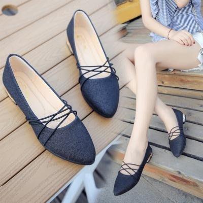 韓版復古豆豆鞋尖頭舒適淺口瓢鞋綁帶淑女鞋