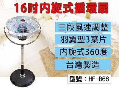 【16吋循環扇】勳風 內旋式 360度 3D立體環繞 電風扇 立扇 電扇 三段風速 羽翼型3葉片 台灣製 HF-B66