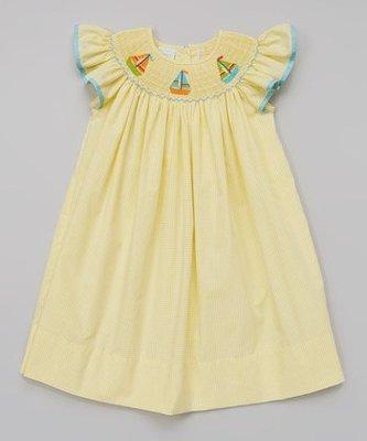 美國童裝名牌 Petite Palace Yellow Sailboat 黃色帆船洋裝 3T