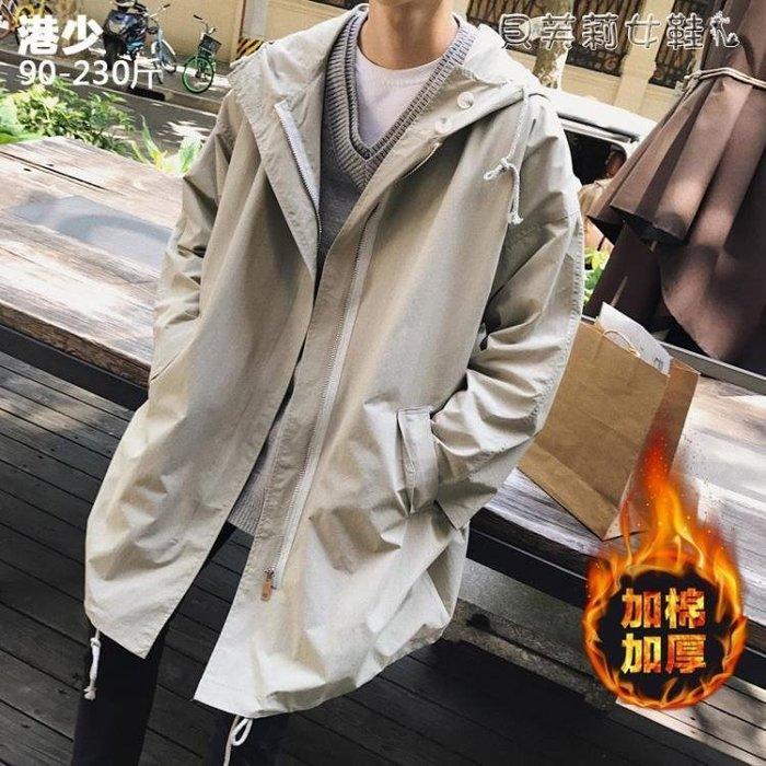 熱銷風衣風衣男士2019秋冬季新款韓版潮加絨中長款加肥加大碼大衣胖子