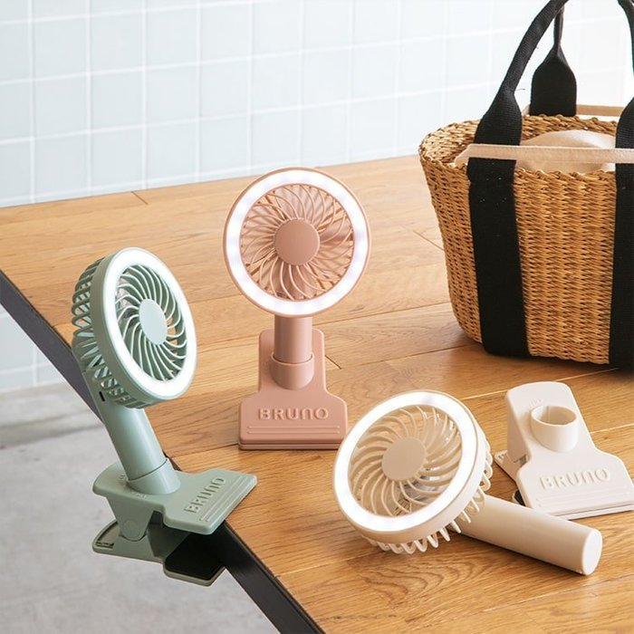 《FOS》日本 BRUNO 攜帶型 迷你 風扇 USB充電 時尚 可愛 化妝燈 辦公室 桌扇 夏天 消暑 熱銷 新款