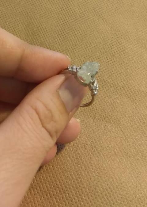 天然 翡翠 A貨 白冰貔貅戒 925 銀 鑲嵌