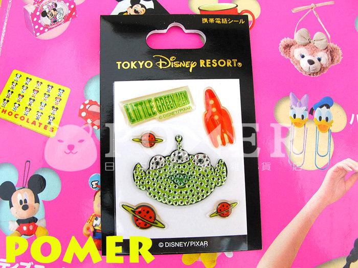 ☆POMER☆日本東京迪士尼樂園 絕版正品 皮克斯 玩具總動員 三眼怪 火箭 星球 閃亮水鑽 裝飾 貼紙 手機貼紙 禮物