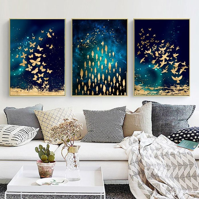 簡約抽象形意金色蝴蝶魚群客廳臥室裝飾畫芯高清微噴打印壁畫(3款可選)