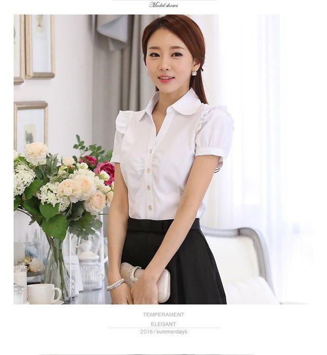 艾莉小舖~新款夏季 韓版女裝 短袖襯衫 女式修身雪紡衫~滿2千免運