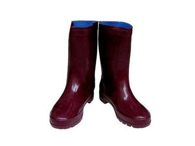 朝日牌-紅棕色女用雨鞋【安安大賣場】特製耐力膠-有內襯-台灣製-耐磨-批發價