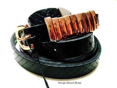英國精品品牌Ted Baker 全新正貨真品黑色皮革壓紋金屬綴飾皮帶 原價$2680 / *現貨NT$1元起標*