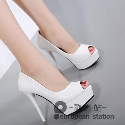 魚口高跟鞋/女夏新款白色韓版防水台細跟單鞋百搭小碼鞋女夜店