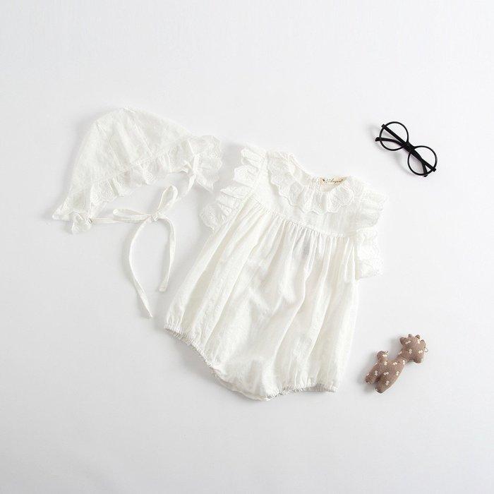 2019夏季新款嬰兒 baby白色娃娃領蕾絲無袖包屁裙+帽子@KK.KIDS