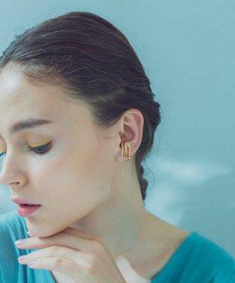 手錶屋 日本代購 ete 21春 Breeze 鋯石珍珠 金屬三環 銀鍍金 耳垂夾