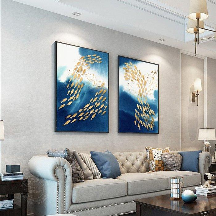 新中式水墨意境游魚客廳裝飾畫酒店樣板房現代掛畫玄關客廳壁畫(3款可選)