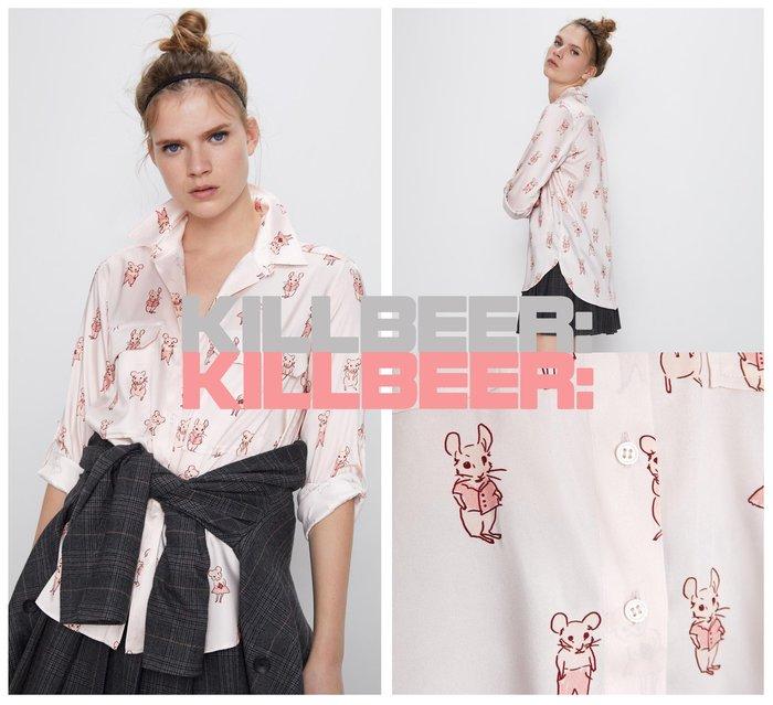 KillBeer:鼠年粉一波!貪心女孩的新風格之 歐美復古童趣可愛設計感口袋粉嫩手繪小老鼠垂墜襯衫上衣010606