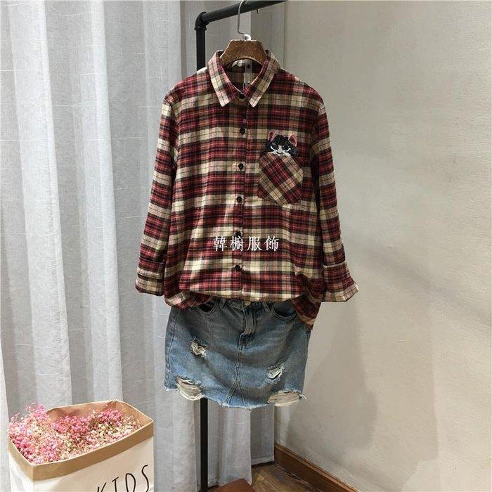 韓櫥服飾春季新品日系風可愛小卡通寬松微胖棉布休閒格子長袖襯衫女19019