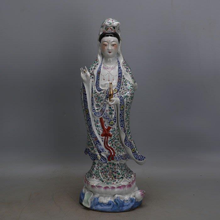 聚寶閣 文革粉彩雕塑瓷站蓮觀音佛像曾龍升廠貨仿古瓷器手工瓷古玩收藏 ZE4491