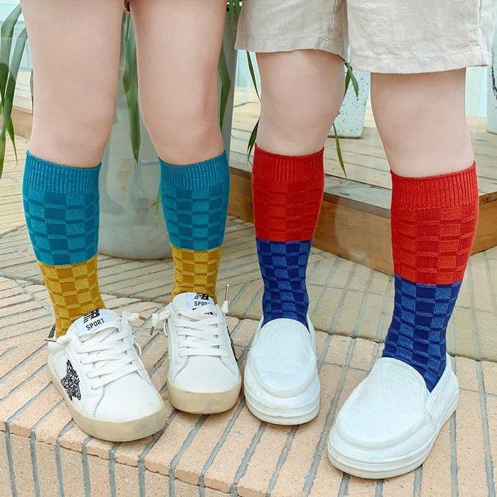 【小阿霏】兒童潮襪 中高筒束口撞色珍珠方格襪子 男童女童堆堆襪 男孩女孩中性襪子 中小中大童尺碼PA364