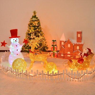 聖誕節裝飾聖誕裝飾品聖誕場景布置套餐聖誕麋鹿拉車聖誕老人