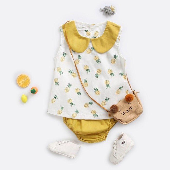2019夏季新款嬰兒 baby菠蘿滿印背心+黃色三角pp 褲兩件套@KK.KIDS