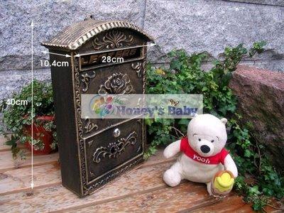 701歐式鐵藝古銅色戶外壁掛式玫瑰浪漫信/報箱/郵箱/信箱