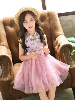 洋裝 新款中國風旗袍裙小女孩紗裙蓬蓬裙時髦民族禮服裙 WE4006