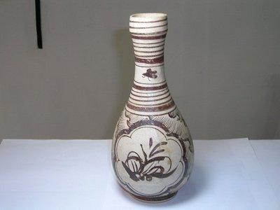 圓如玉文物------南宋~元朝吉州窑海浪纏枝紋長頸瓶
