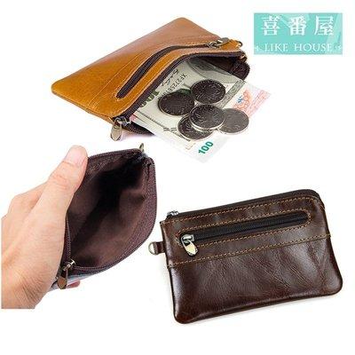 【喜番屋】真皮牛皮復古輕薄拉鍊皮夾皮包錢夾零錢包小錢包硬幣包男夾女夾【LH498】
