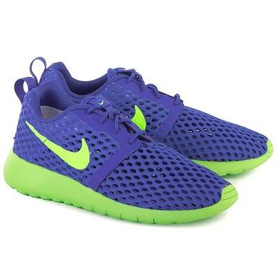 =CodE= NIKE ROSHE ONE FLIGHT GS 網孔慢跑鞋(藍螢光綠) 705485-404 RUN.女