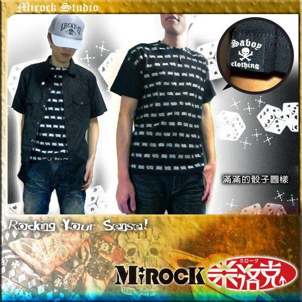 MIROCK米洛克》【5折特賣】日本龐克搖滾街牌|SAVOY黑色整件骰子浮水印短袖圓領純棉T恤|百搭款 合身版型好看