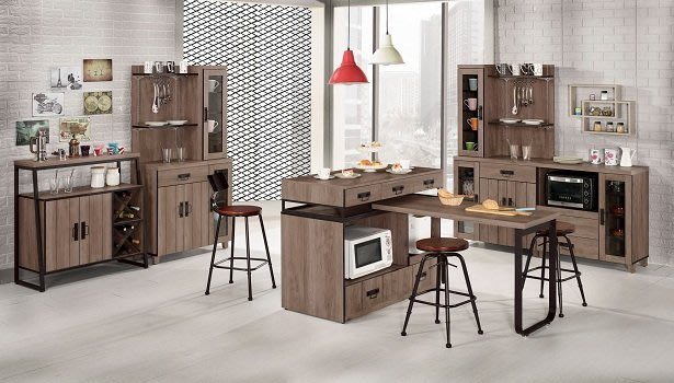 ~哈珀4~7.8尺中島型伸縮多功能餐桌櫃1846395-1~巧匠家具批發廣場~