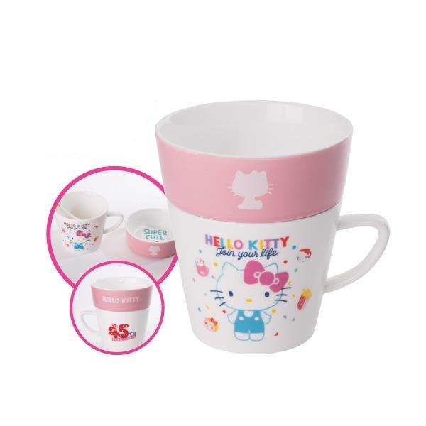 康是美  品質精選偷閒午茶組(馬克杯+碗+湯匙攪拌棒) 陶瓷 容量300ml HELLO KITTY45週年COSMED