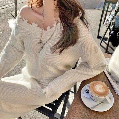 QE 小香風V領針織毛衣 針織半身裙 兩件套 套裝 雪地銀絲白 現貨