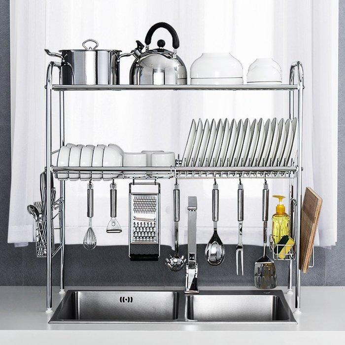 【免運】廚房用品皇臣304不銹鋼水槽架廚房置物架2層落地臺面調料瀝水碗碟收納架