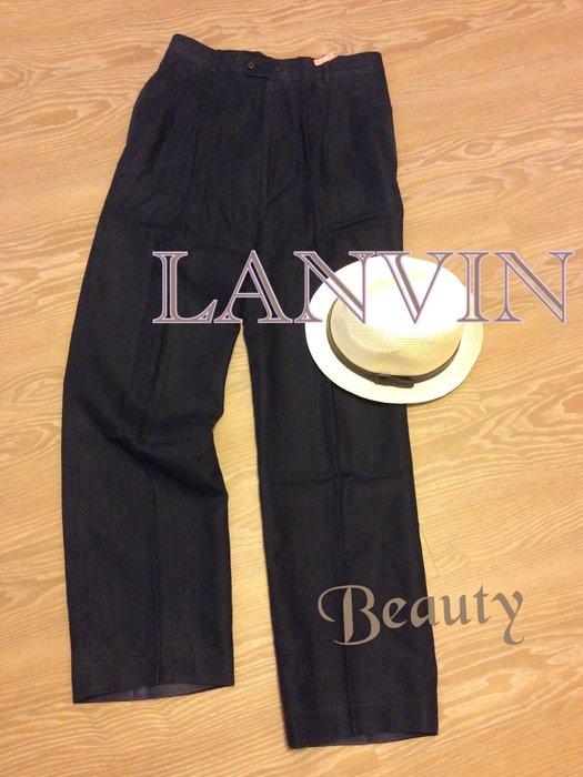 *Beauty*LANVIN男士深藍色亞麻長褲