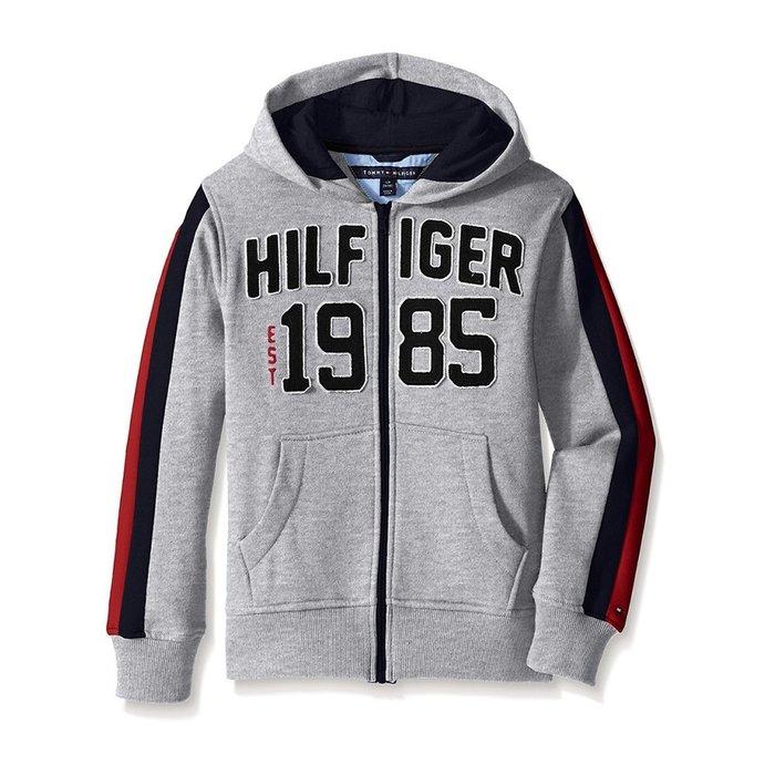 美國百分百【全新真品】Tommy Hilfiger 外套 TH 連帽外套 棉 夾克 經典 Logo 灰色 S號 H086
