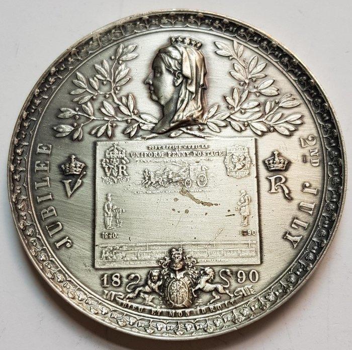 英國銀章1890 UK Golden Jubilee of Uniform Penny Postage Medal.