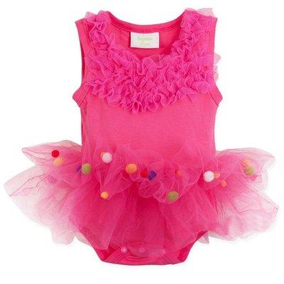 可愛 蕾絲女寶寶   公主紗裙 紗裙粉紅小芭蕾天使跳舞哈衣 蝴蝶結 包臀衣 包屁衣 連身衣 / 哈衣